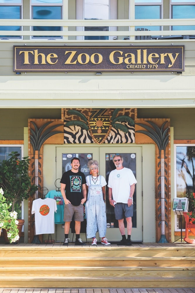 The Zoo Gallery visionaries Roxie and Chris Wilson with their son, Baxter (left), at the Grayton Beach store. The family has owned and operated the eclectic art gallery and retail destination in various locations on the Emerald Coast since 1979.