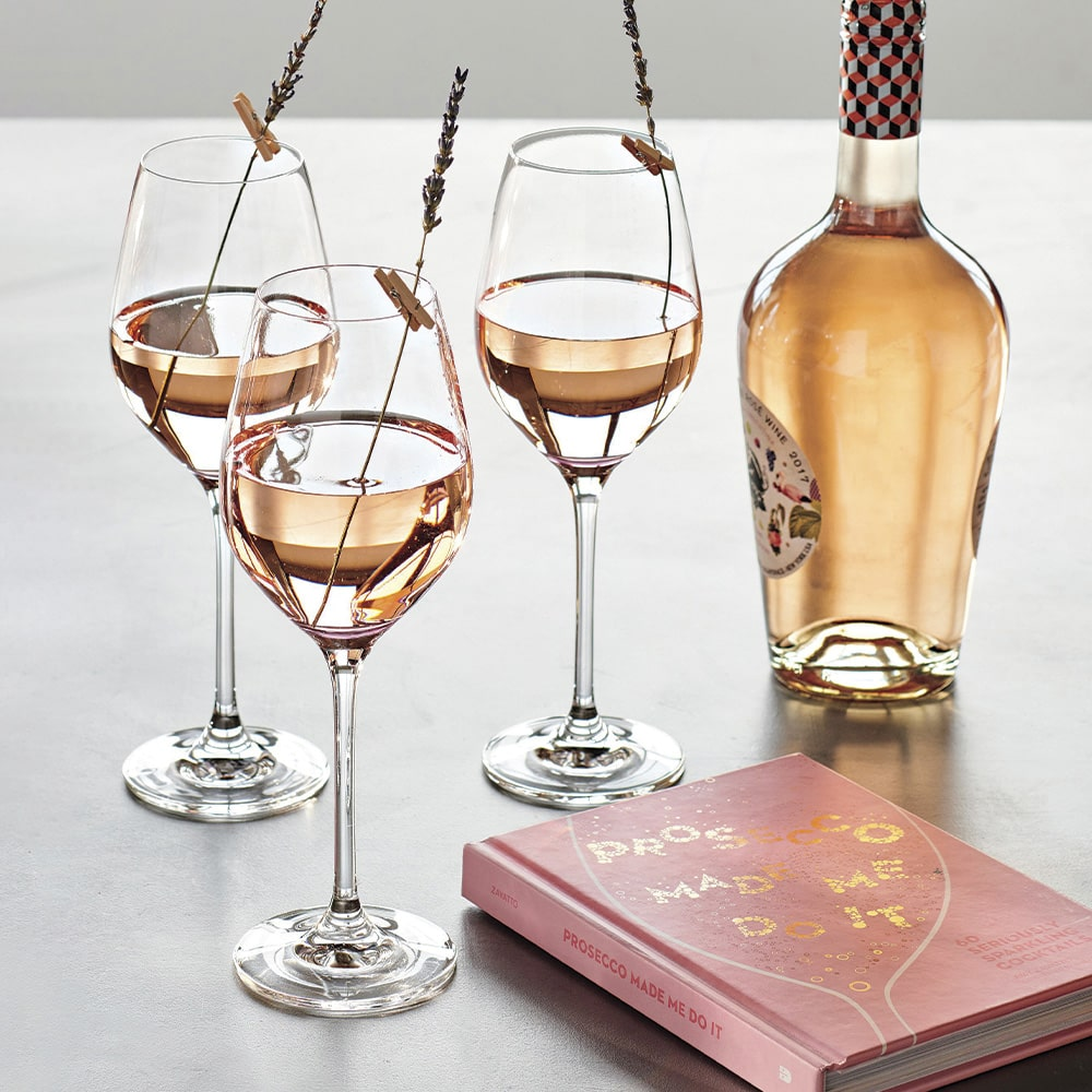 Crate & Barrel Set of Four Rosé Wine Glasses