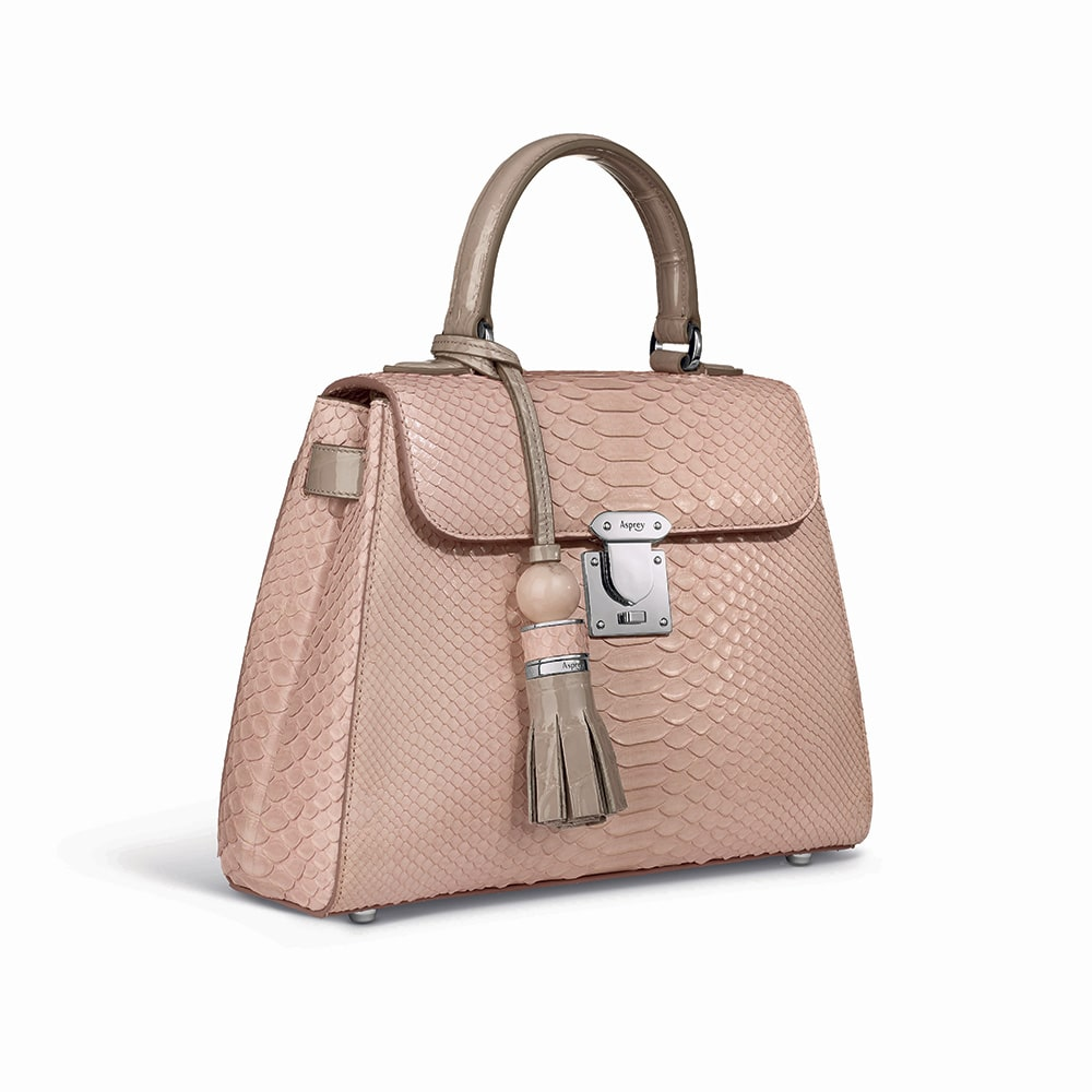 Asprey 167 26cm Handbag in Rose Petal Python and Patent Oyster Crocodile