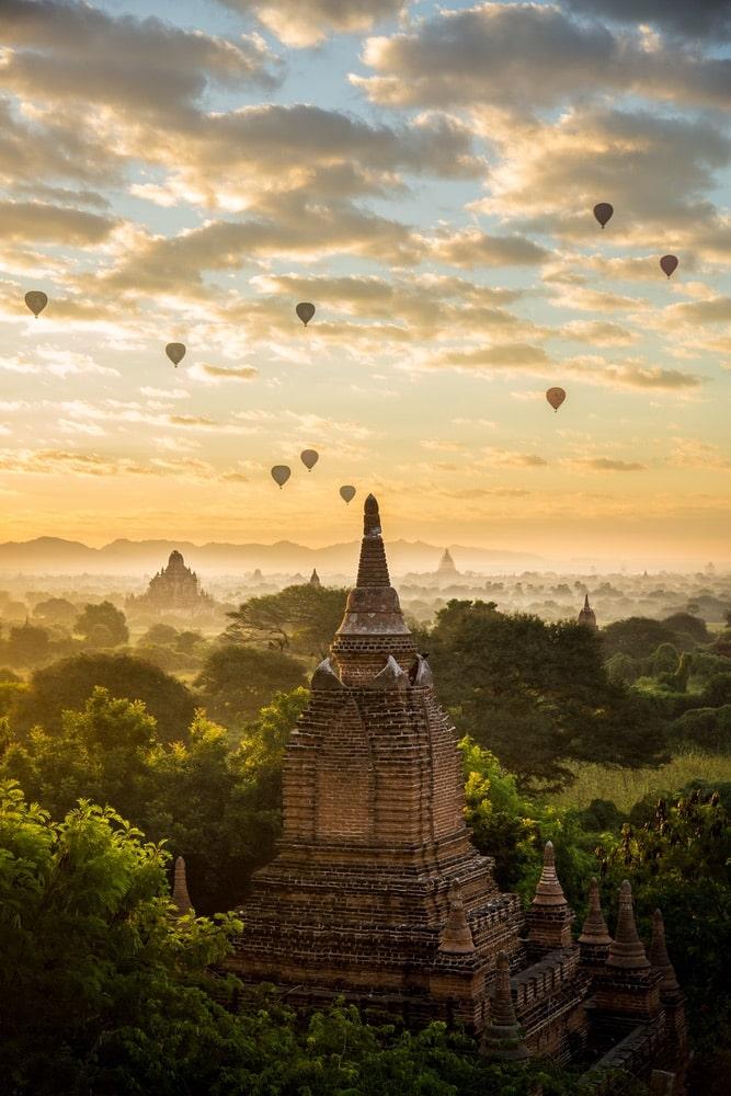 Sunrise over pagoda in Bagan, Myanmar