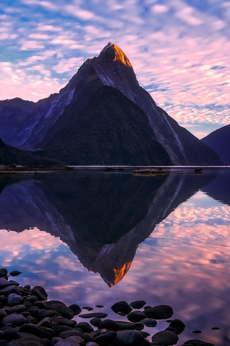 Sunrise at Milford Sound in New Zealand