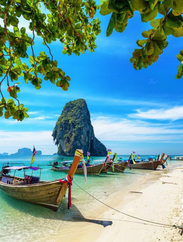 Boats on Phra Nang beach, Krabi Thailand