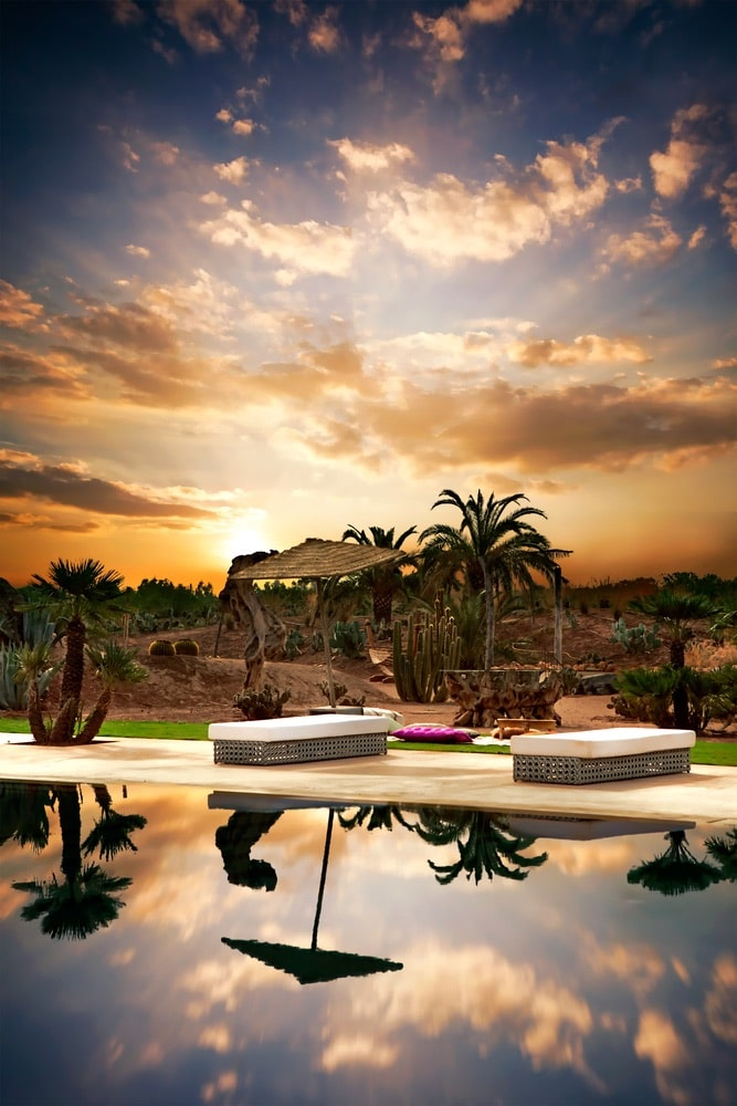 Beach beds with next at pool, hotel territory, Marrakesh Morocco