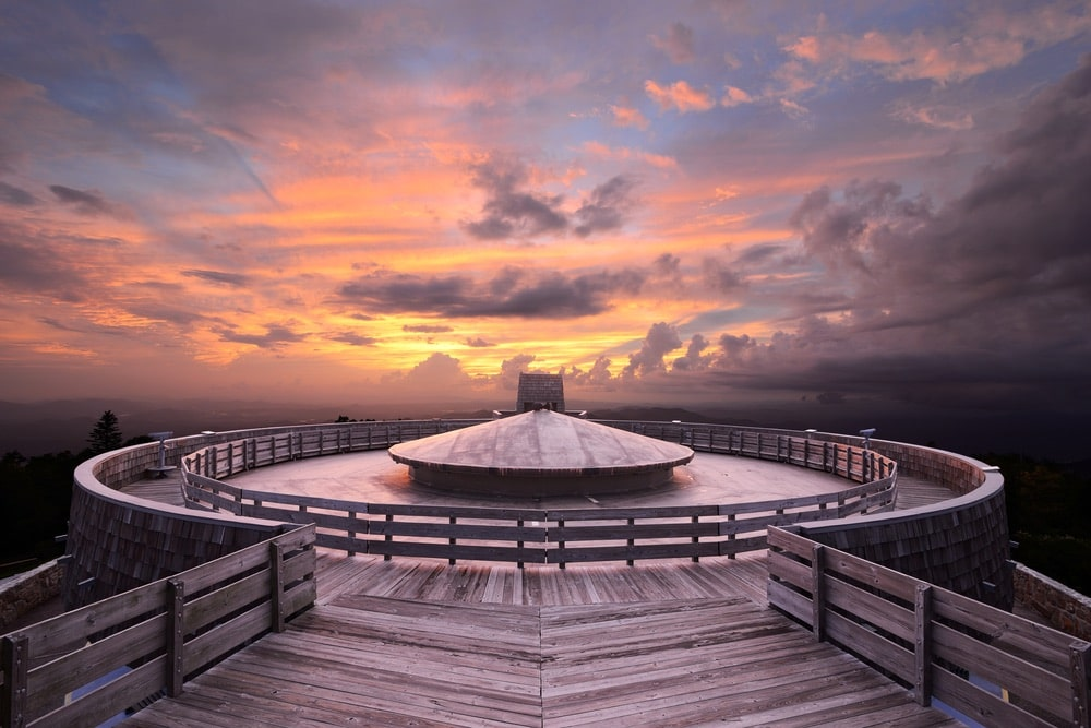 Mountaintop observatory at sunset on Brasstown Bald, the highest point in Georgia, USA.