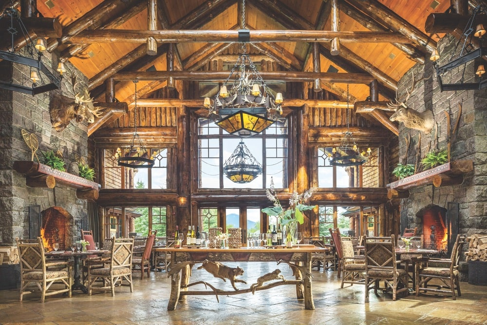 The spectacular Kanu Dining Room at Whiteface Lodge in Lake Placid, New York, is the perfect place to make new friends while enjoying a great meal. | Photo courtesy of Whiteface Lodge