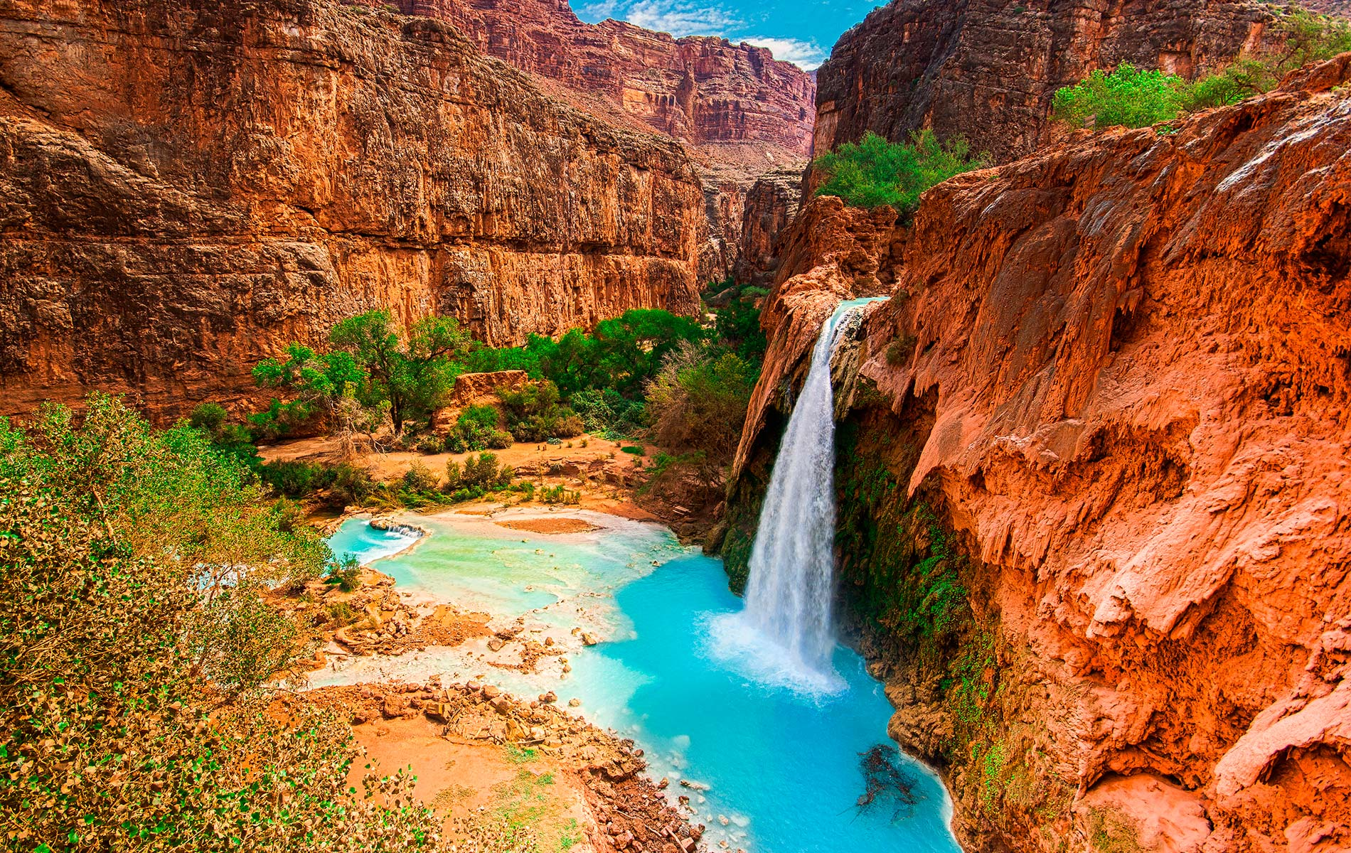 Havasu Falls located within the Havasupai reservation in the Grand Canyon