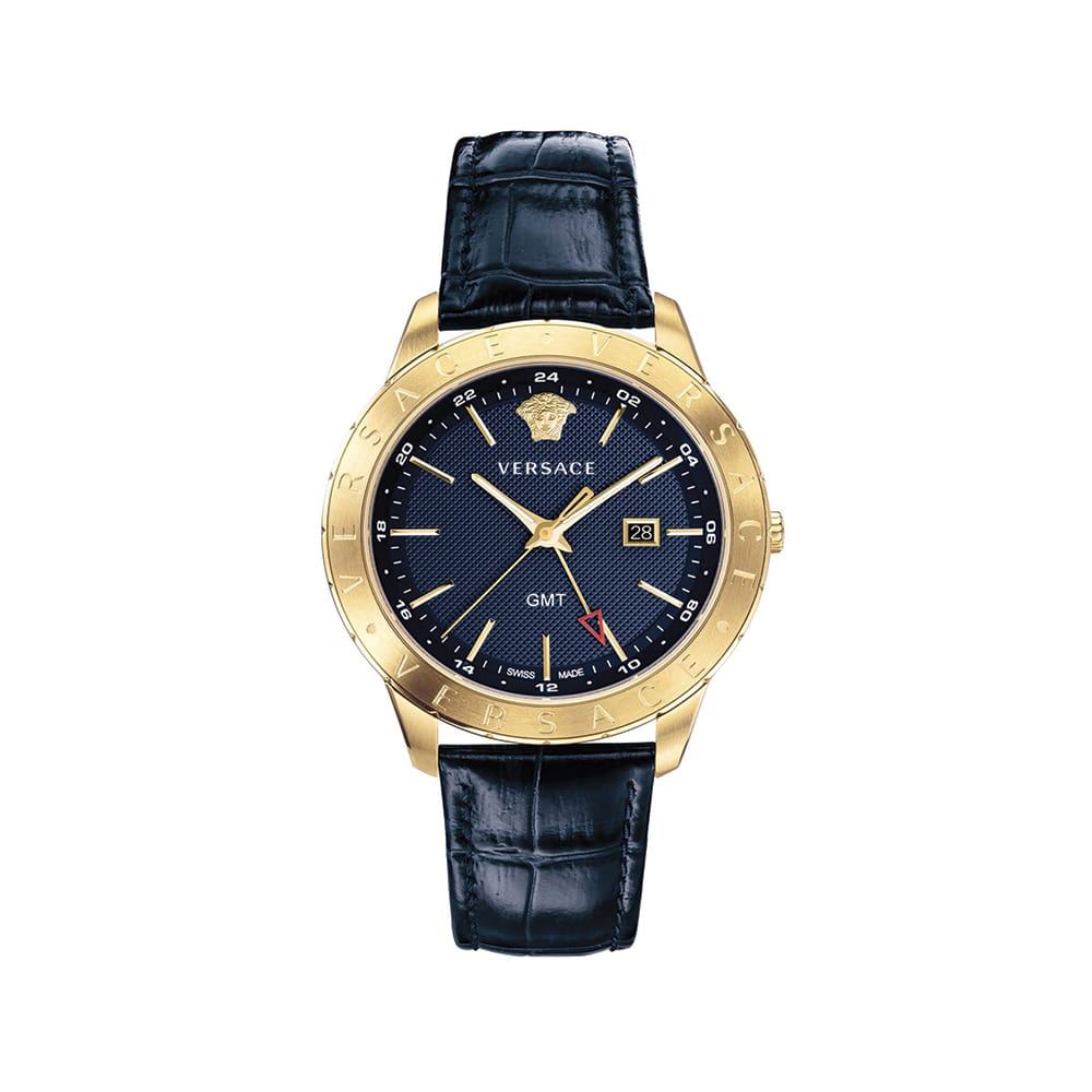 Versace Men's Univers 43mm Watch with Leather Strap, Neiman Marcus