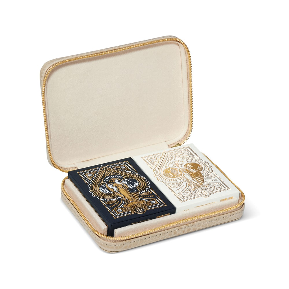 Enzo Travel Card Set with Embossed Leather Case