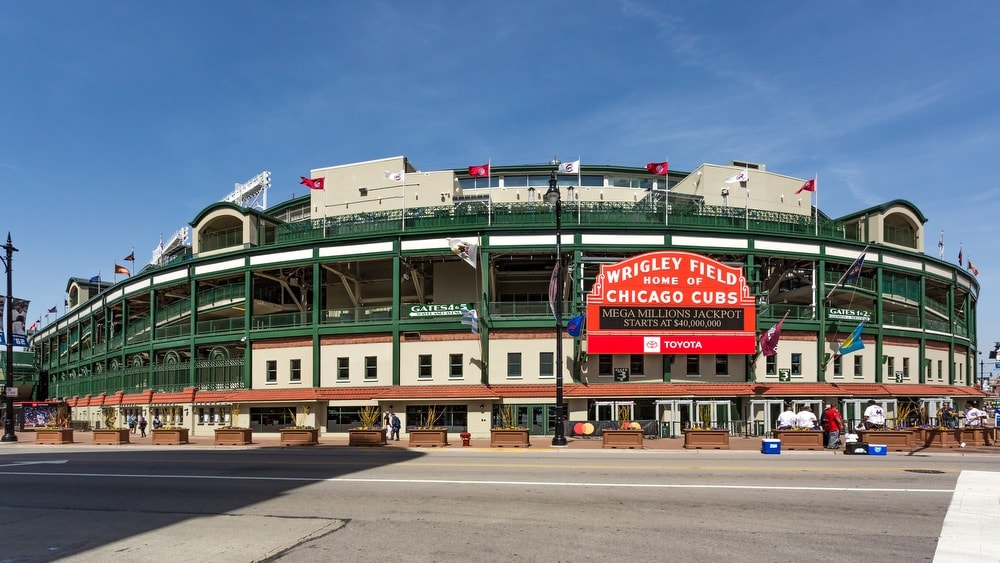 The Wrigley Field Baseball Stadium is Home of the Chicago Cubs since 1916.