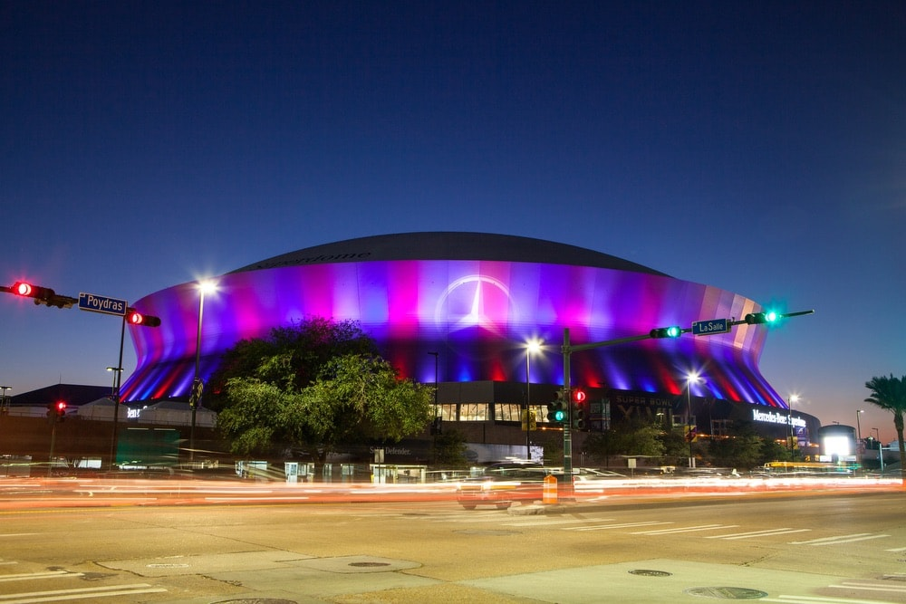 New Orleans Superdome lit up at night just days before the 2013 Superbowl