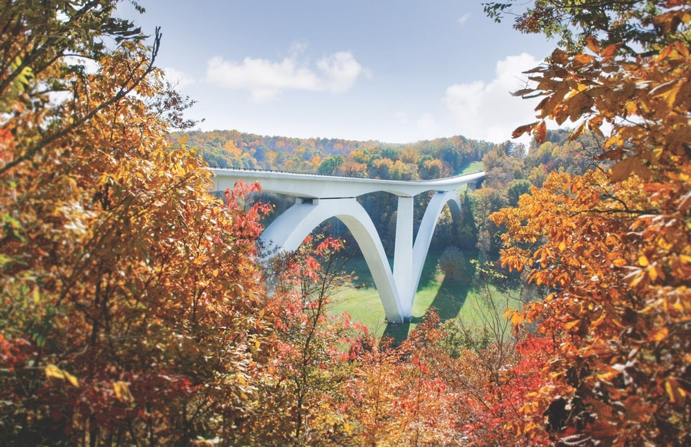 The concrete double-arch Natchez Trace Parkway Bridge near Franklin and Leiper's Fork, Tennessee