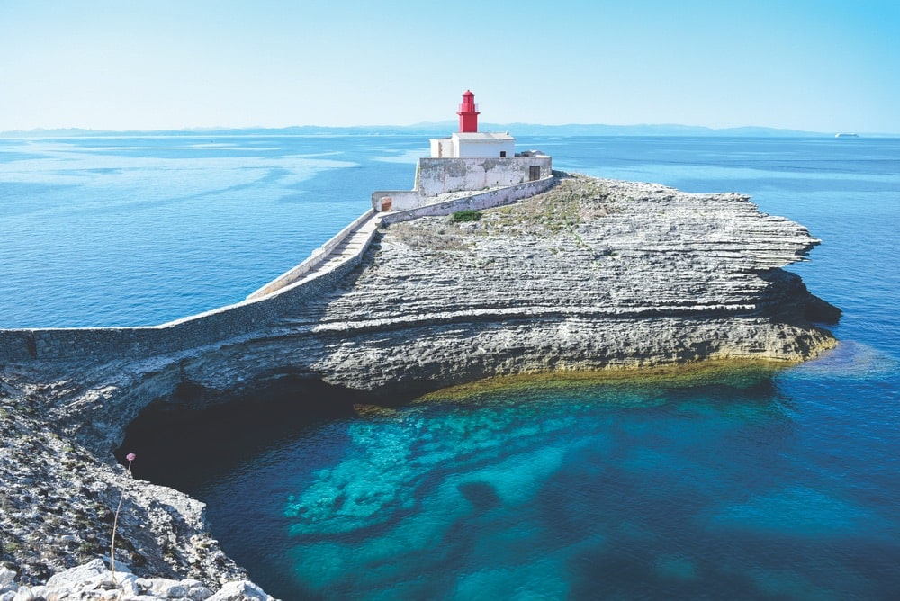 VIE Magazine January 2020 Travel Issue Introspections Department Page, The Lighthouse of La Madonetta in Bonifacio, Corsica, France