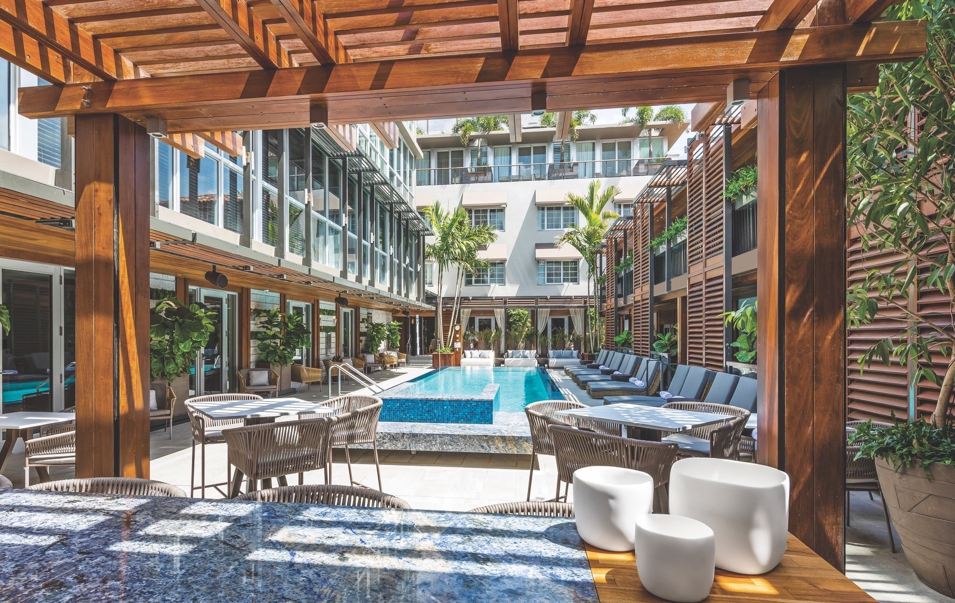 Lennox Hotel kept the Art Deco facade of their historic building intact but performed major renovations to create a sleek, inviting interior and beautiful courtyard pool area.