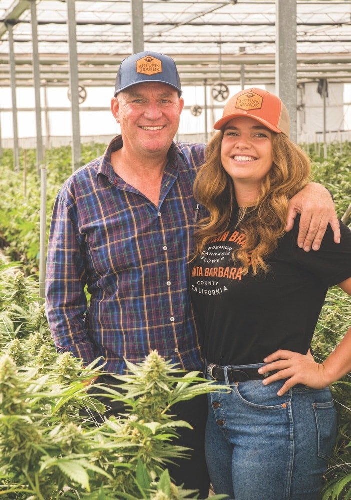 Autumn Brands co-owners Hanna Brand and her father, Hans. Hanna founded the high-quality pesticide-free cannabis farm with Autumn Shelton in Santa Barbara County, California, building off their history and knowledge in the flower industry.