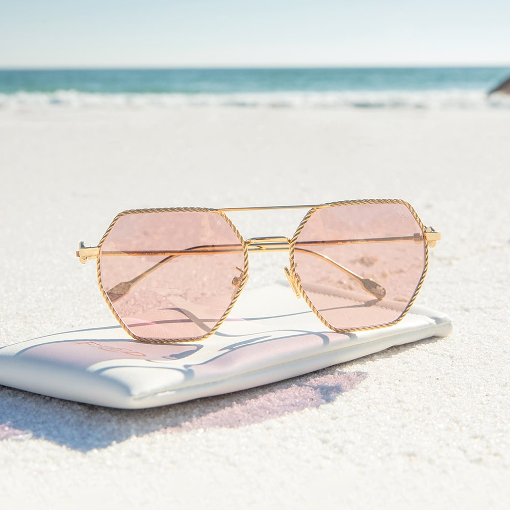 Fred Gold Pink Lens Mirror Sunglasses, The Artful Eye