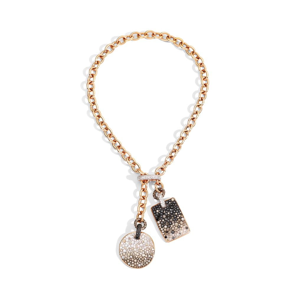 Pomellato Sabbia 18-Karat Rose Gold Necklace with Brown, White, and Black Diamond Pendants