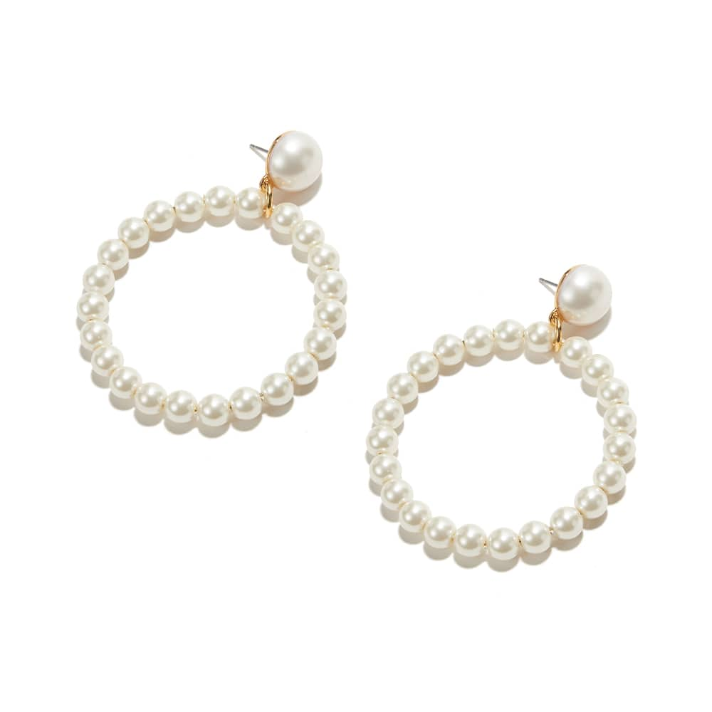 Lele Sadoughi Frontal Pearl Hoop Earrings