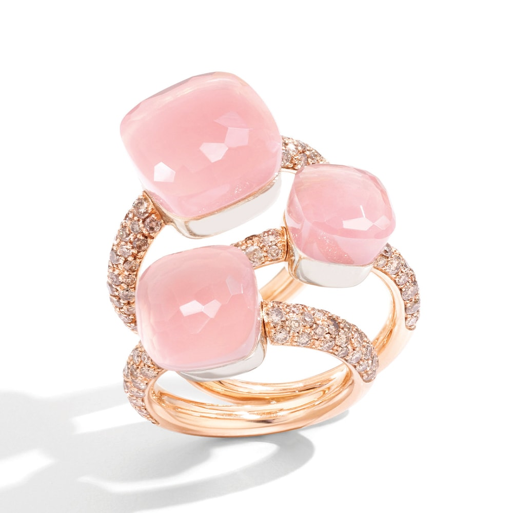Pomellato Nudo Rings in 18-Karat Rose Gold Rose Quartz and Brown Diamonds