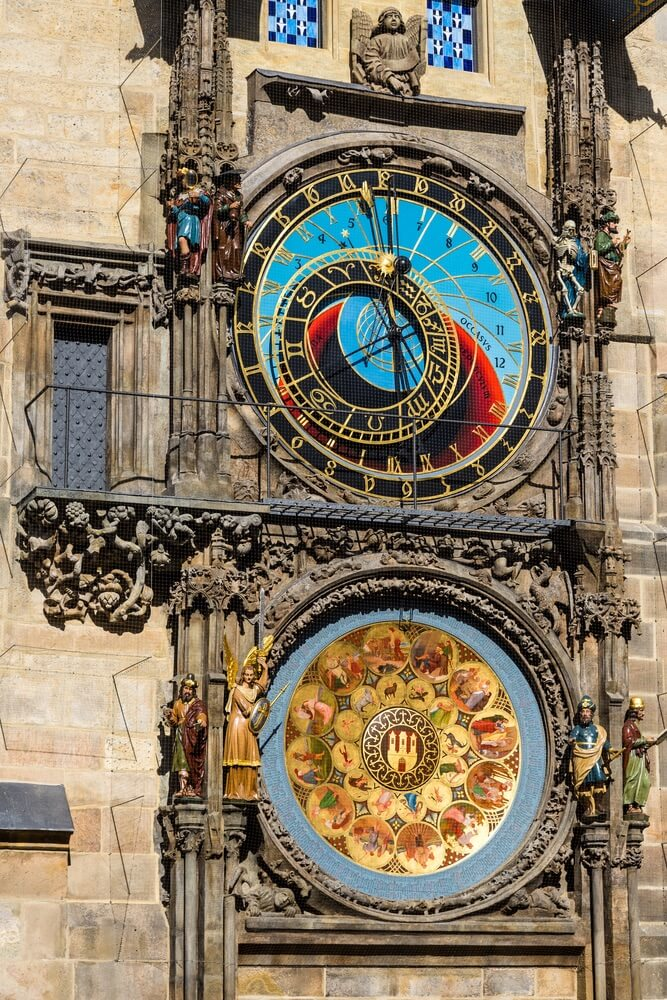 The Prague Astronomical Clock or Orloj in the old town of Prague. The medieval clock is mounted on the south wall of the Old Town Hall tower. Postcard of Prague. Prague, Czech republic