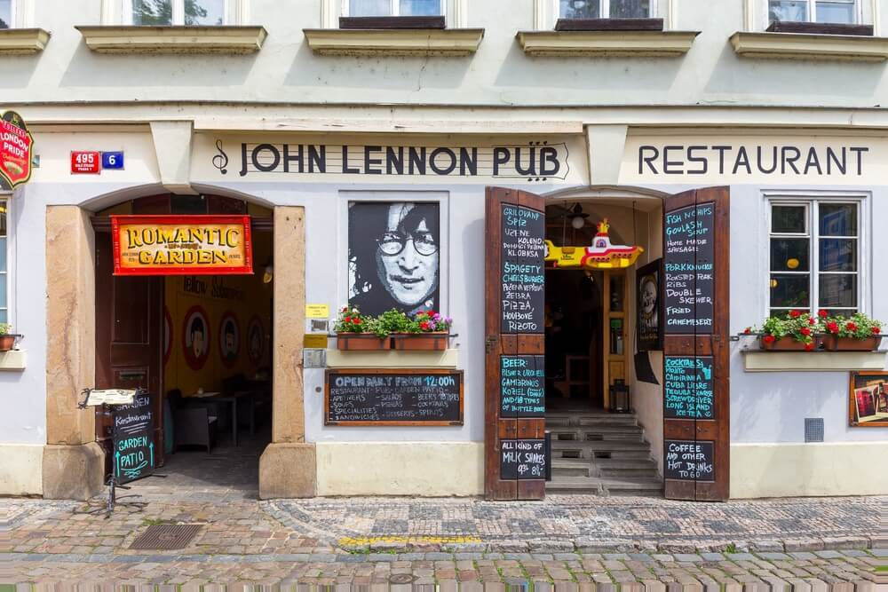 The John Lennon Pub in Prague. It is located in the centre of the town Praque and very popular among Beatles fans.