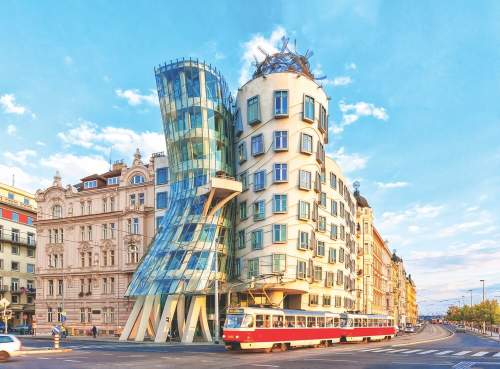 The Dancing House, designed by Frank Gehry and Vlado Milunić, was inspired by Fred Astaire and Ginger Rogers dancing together.