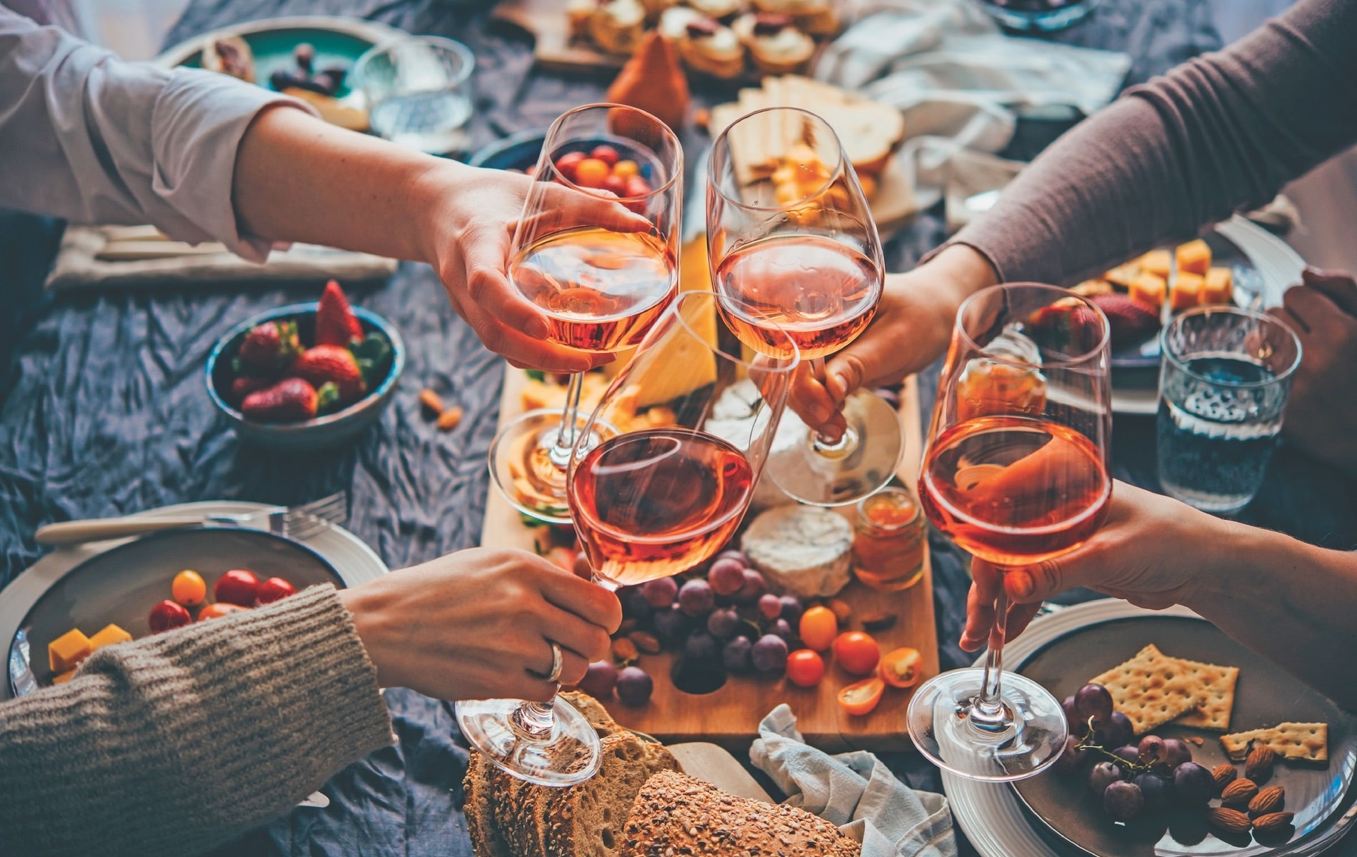 VIE Magazine, Cindy Garrard Column, Glasses of rose wine seen during a friendly party of a celebration
