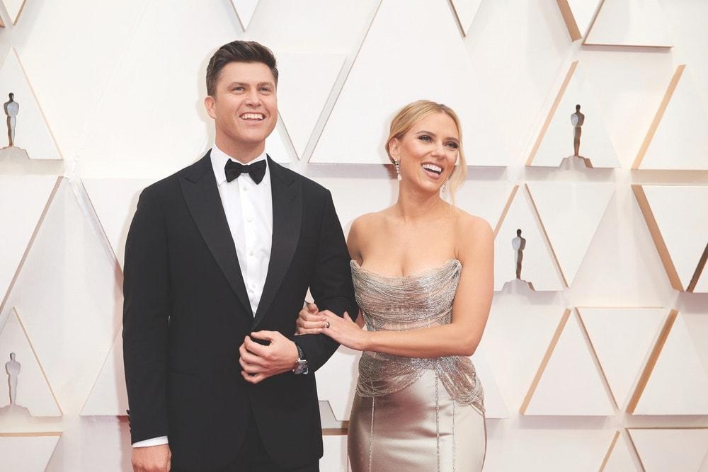 Colin Jost, Scarlett Johansson, Oscar de la Renta, La Scene, Academy Awards, 92nd Academy Awards, The Oscars, 92nd Oscars, Dolby Theatre, red carpet