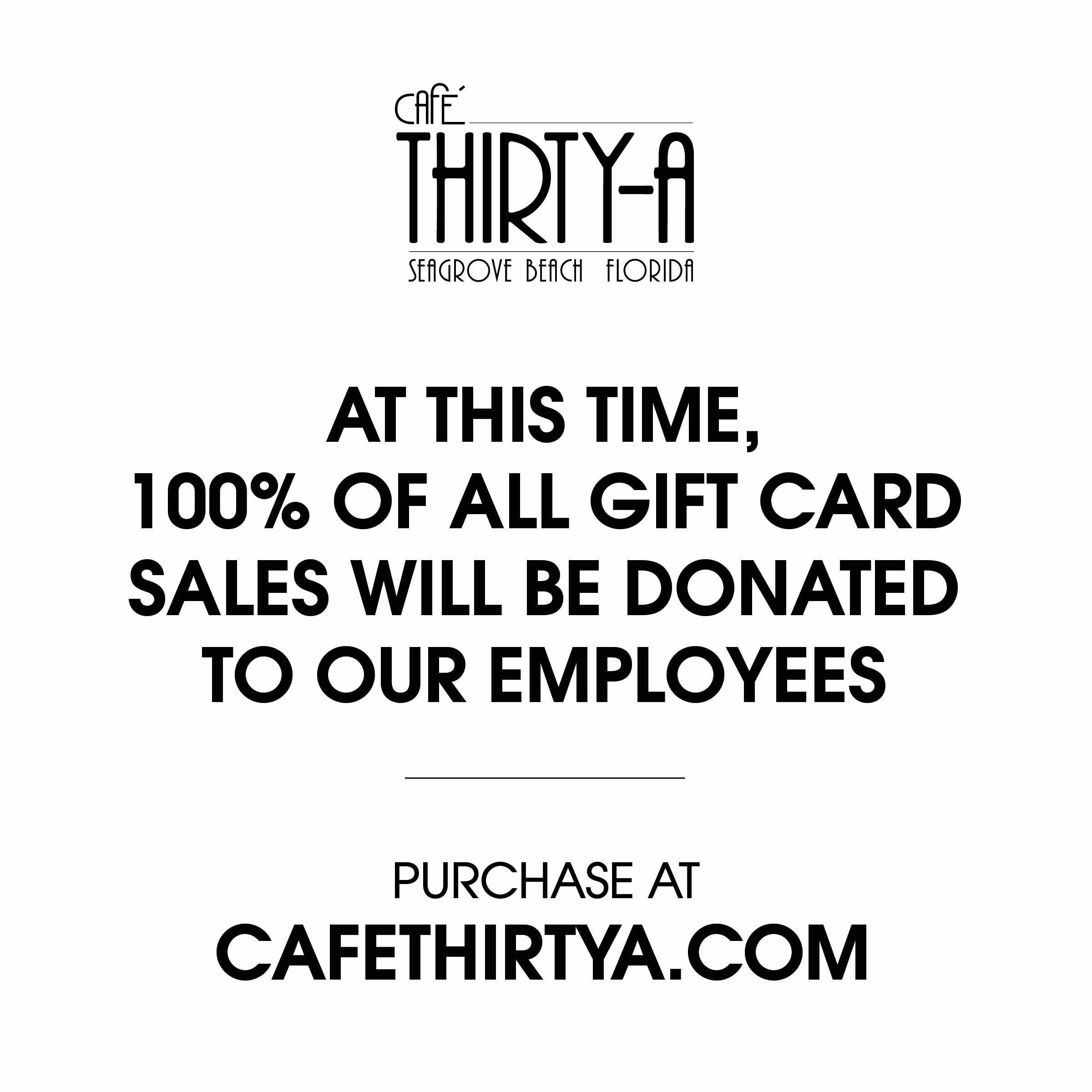 Cafe Thirty-A Gift Cards Drive to Help Employees Due to COVID-19