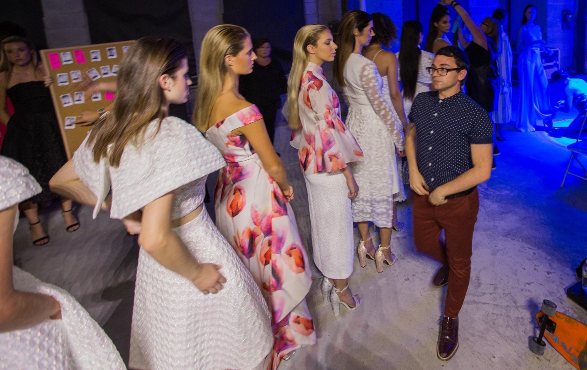 Christian Siriano and models backstage at South Walton Fashion Week 2016