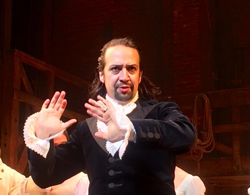 Lin-Manuel Miranda performs in Hamilton Original Cast on Broadway