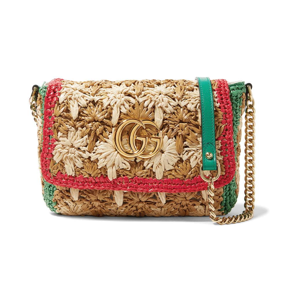 NET-A-PORTER Gucci GG Marmont Leather-Trimmed Raffia Shoulder Bag