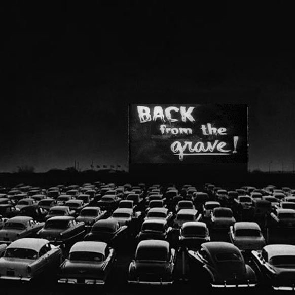 Black and White Drive-in Movie Theater