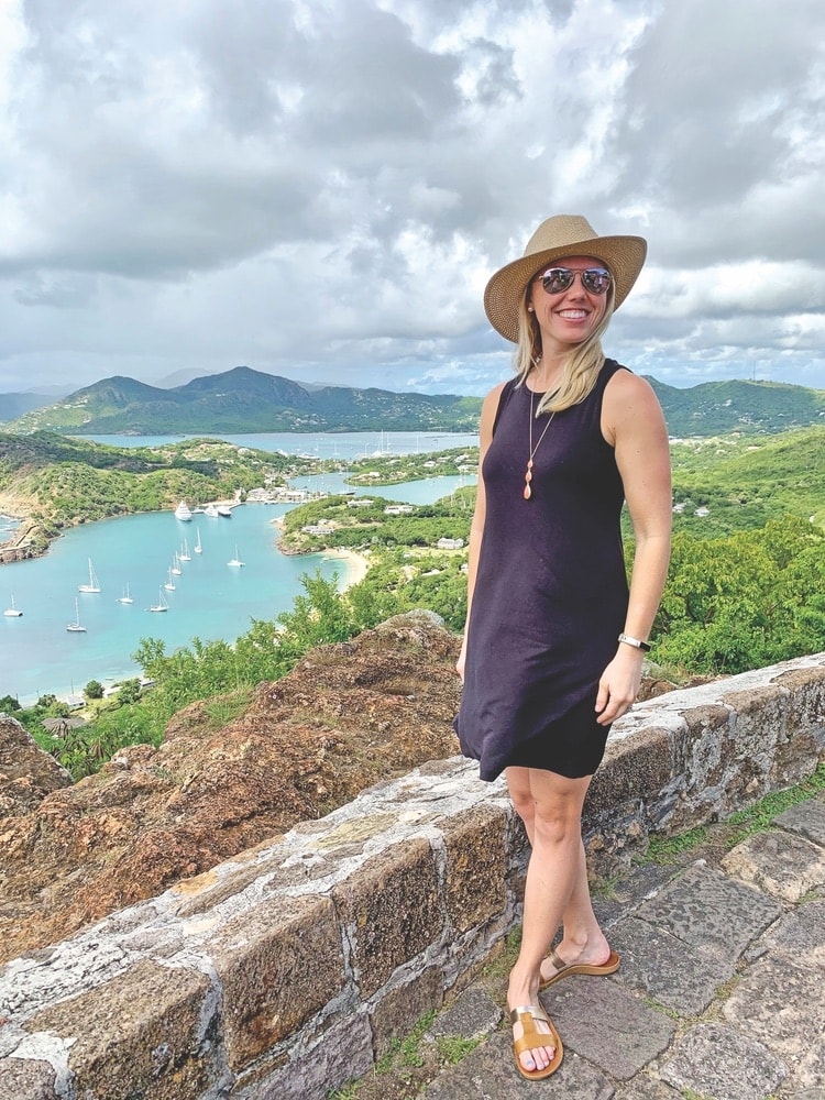 Writer Kelsey Ogletree sightseeing on the island of Antigua