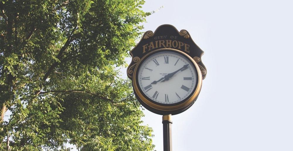 Downtown Fairhope, Fairhope, Fairhope Alabama, Fairhope Clock, City of Fairhope
