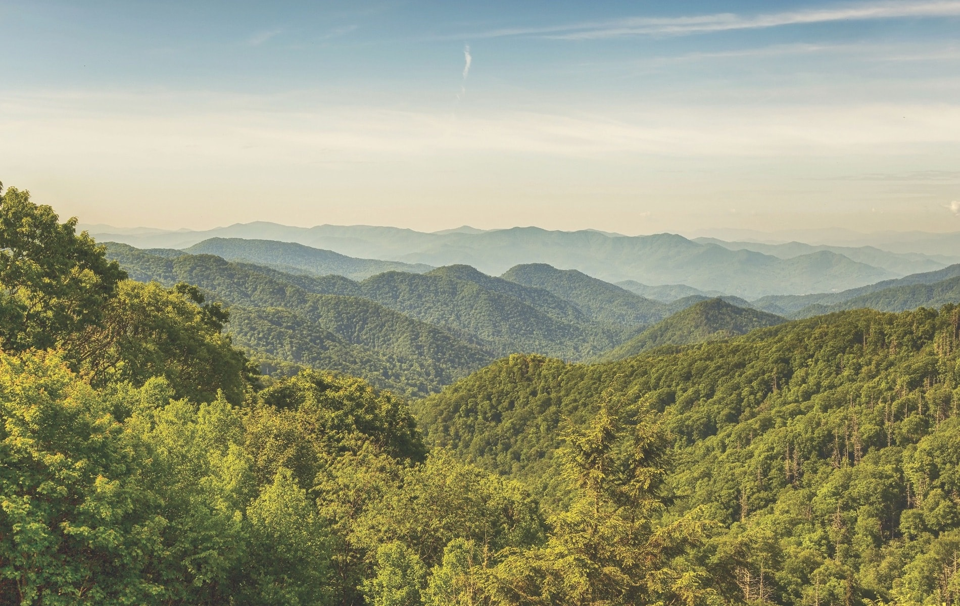The Great Smoky Mountains as seen from the top of Clingmans Dome on the border of Tennessee and North Carolina.