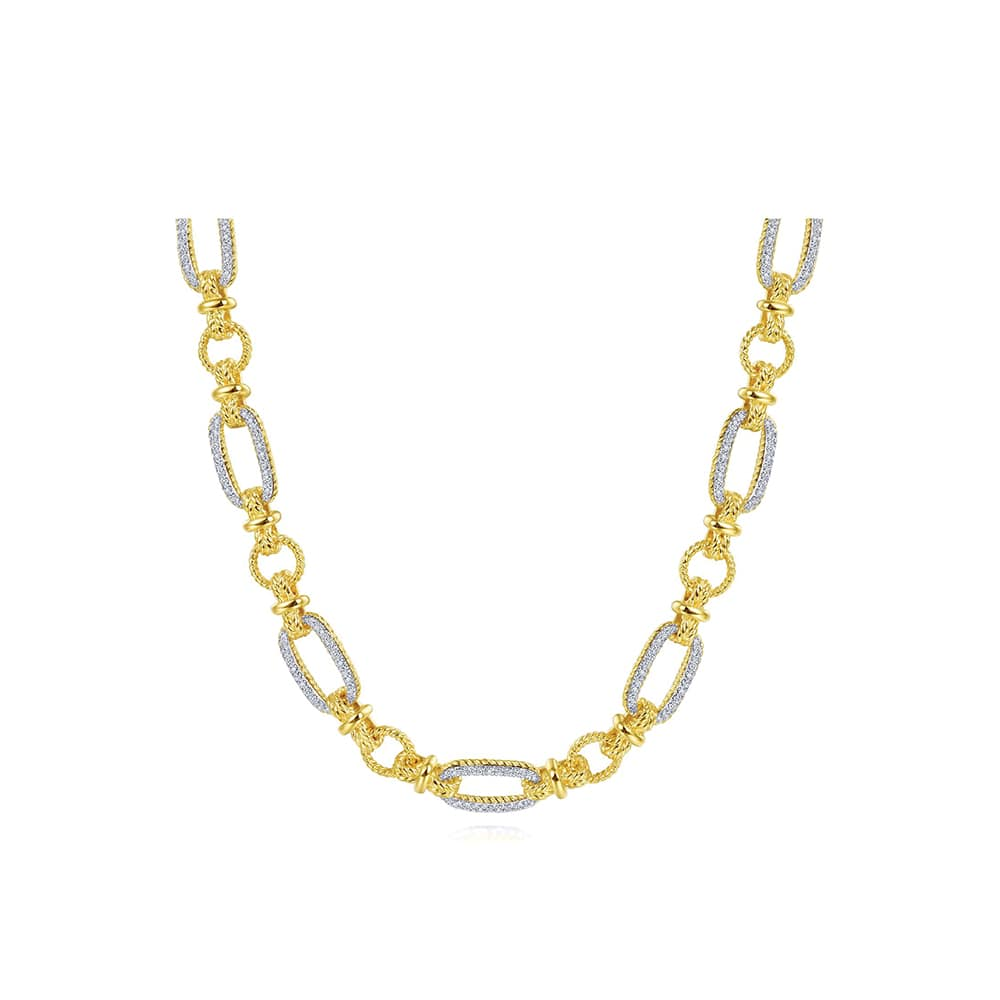 Emerald Lady Jewelry, Gabriel & Co. 14K Yellow-White Gold Oval Chain Twisted Rope Link Necklace with Diamond Pavé, VIE Magazine, C'est la VIE Curated Collection