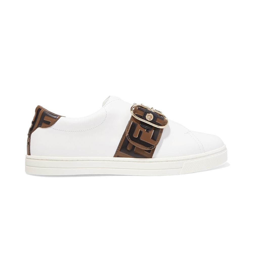 NET-A-PORTER, Fendi Logo-Embossed Leather Sneakers, VIE Magazine, C'est la VIE Curated Collection