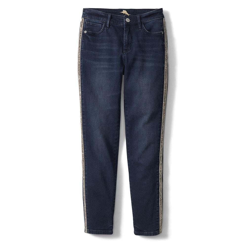 Tommy Bahama Tema Indigo High-Rise Sparkle Tux Ankle Jeans, VIE Magazine, C'est la VIE Curated Collection