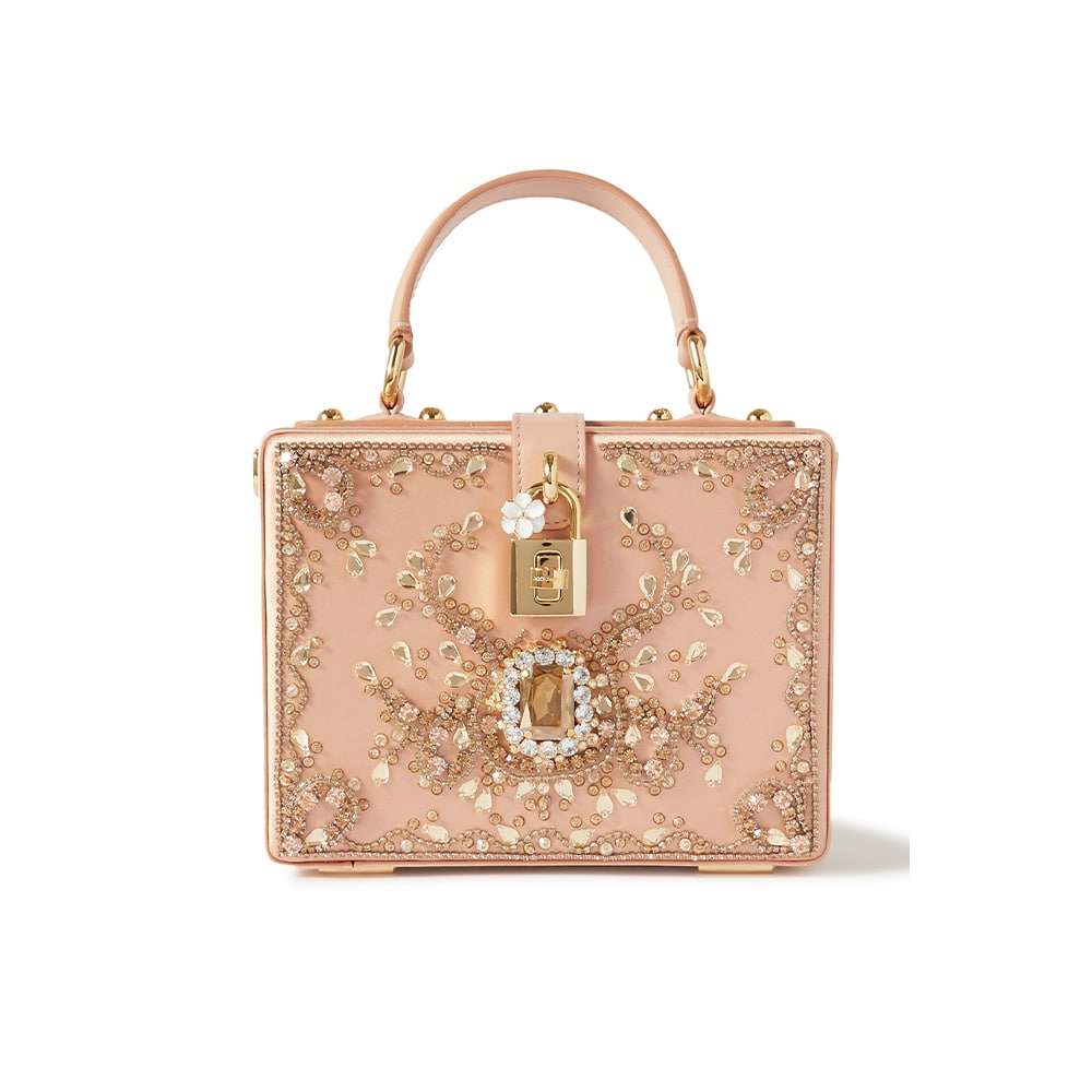NET-A-PORTER, Satin Dolce Box Bag with Bejeweled Embroidery, Dolce and Gabbana