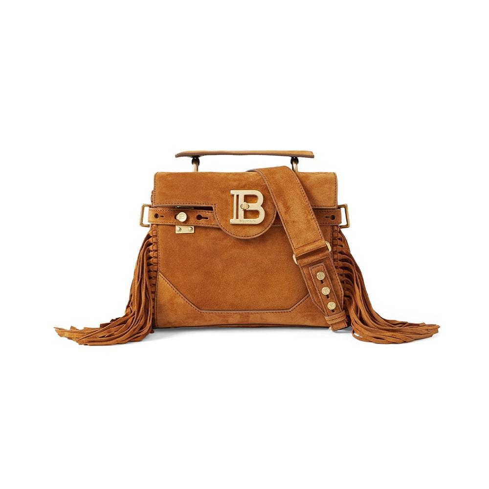 NET-A-PORTER, Balmain B-Buzz 19 Fringed Suede Shoulder Bag