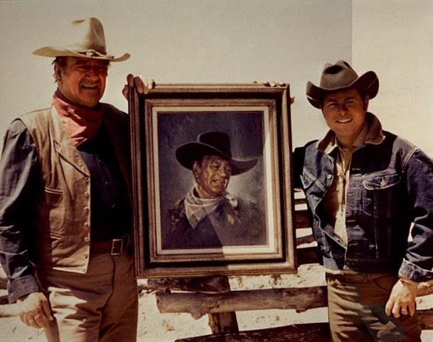 Actor John Wayne with his friend artist Douglas Van Howd on set | Photo courtesy of Van Howd Studios
