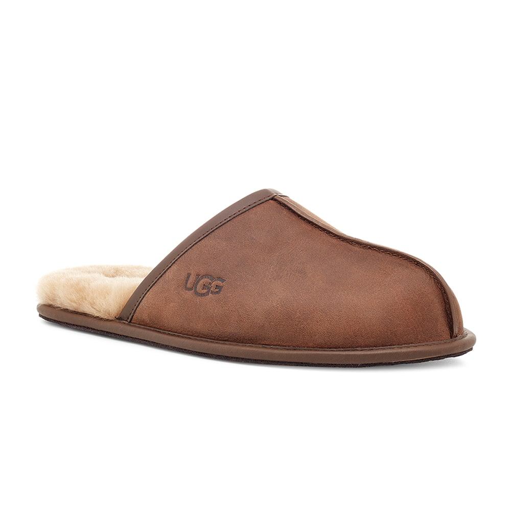 Ugg Men's Scuff Leather Mule Slippers with Wool Lining