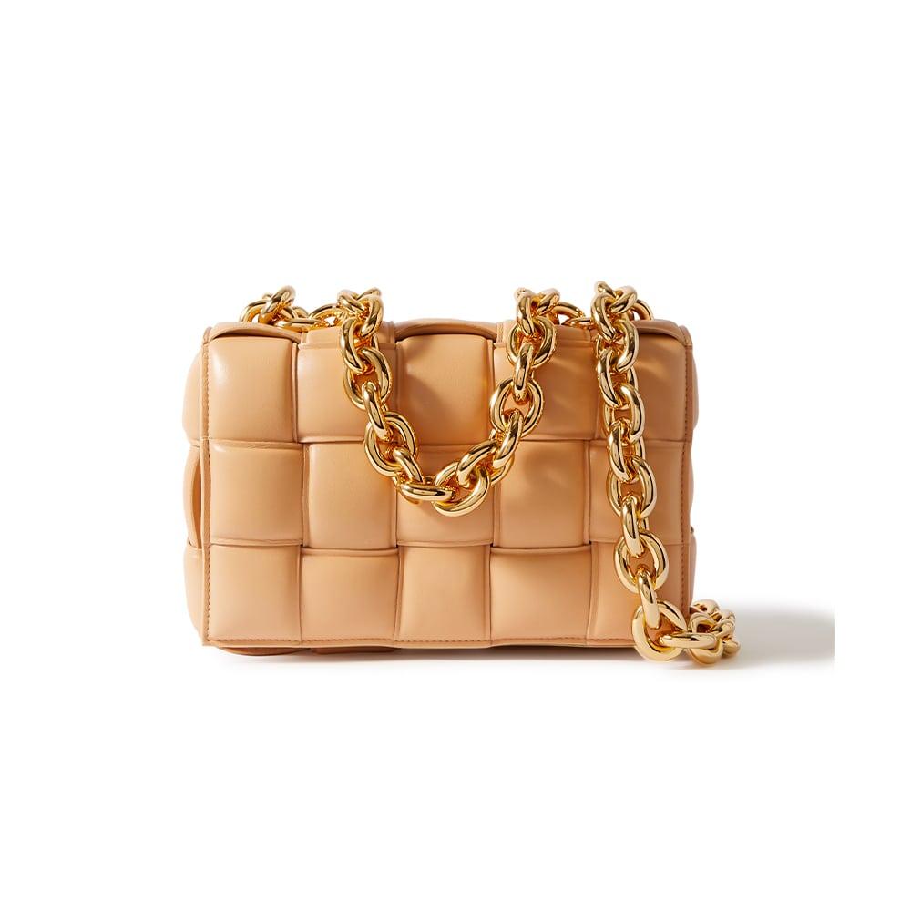 Bottega Veneta Beige Cassette Padded Intrecciato Leather Shoulder Bag