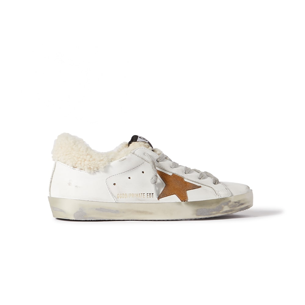 Golden Goose White Superstar Distressed Leather, Suede, and Shearling Sneakers