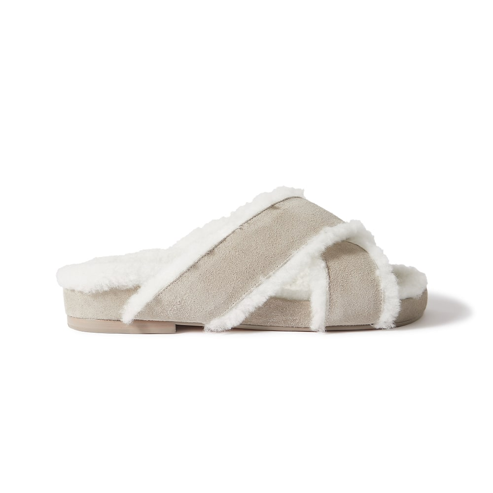 Porte Paire Shearling-lined Suede Shoes