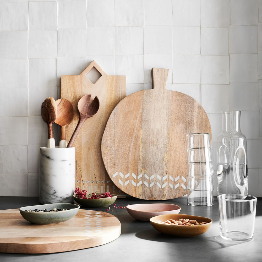 VIE Magazine C'est la VIE Curated Collection, Crate & Barrel Isadore Marble Inlay Wood Serving Boards