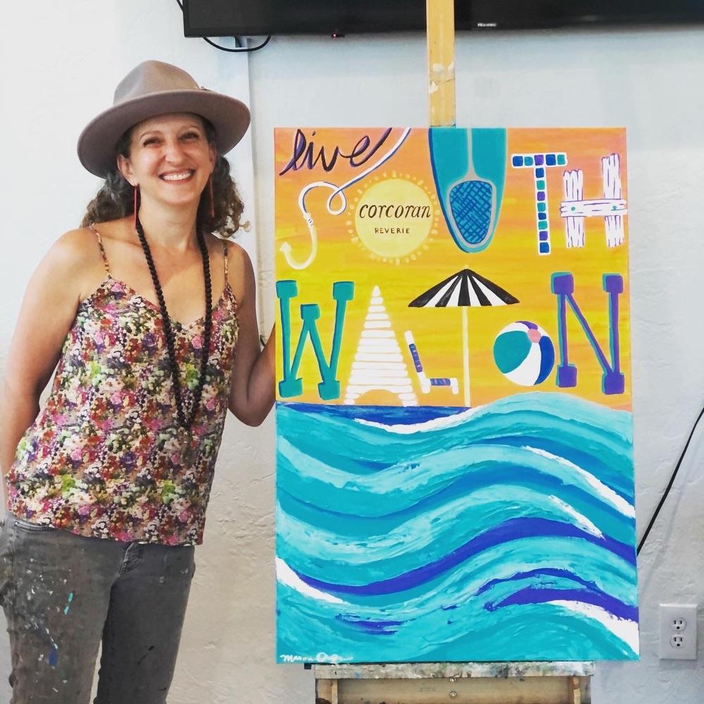 Maxine Orange, artist, South Walton, 30A, Corcoran Reverie, Painting, Mural