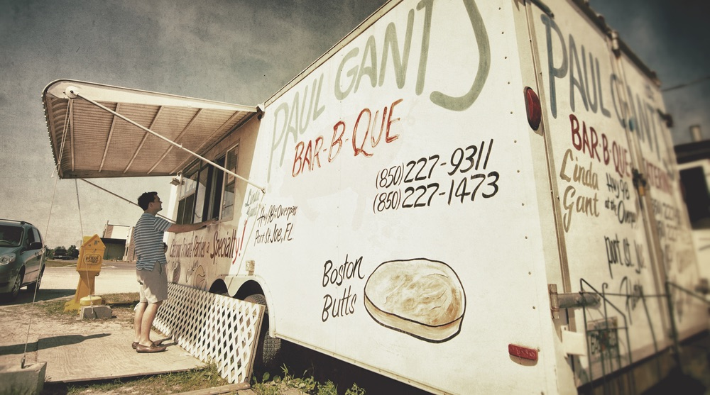 Simple Trailer on a gravel parking lot is all Paul Gant's needs