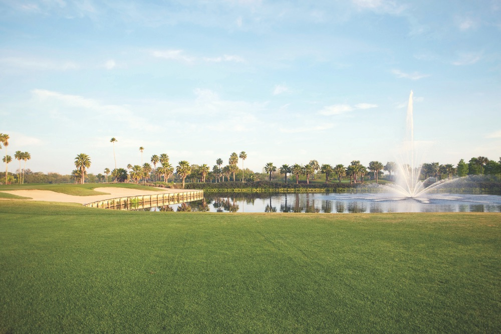 The scenic signature eighteenth hole at the Vinoy Golf Club