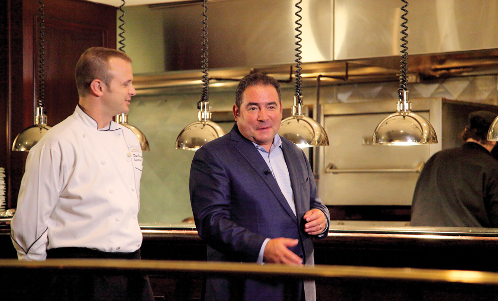 Chef Dan Vargo chats with Emeril at Seagar's prime steaks and seafood in Destin while filming Emeril's Florida. VIE Magazines in depth look at Emeril and Alden Lagasse, A Bountiful Life.